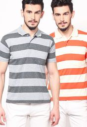 A trendy addition to your casual wardrobe this season comes in the form of this multicoloured pack of 2 polo T-shirts from Duke. The modish design of these slim-fit T-shirts adds to their fashion appeal, while the polyester fabric spells pure breathable comfort throughout the day.