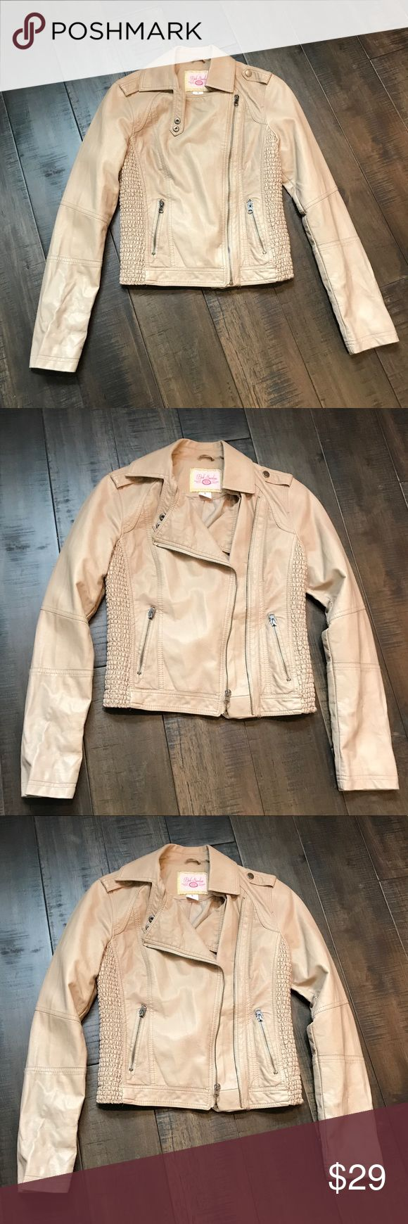 NWOT Tan Leather Jacket! Size Small. Super Cute! NWOT Leather Jacket! Size Small. Color is a Light Tan/Dark Beige.  Super cute and perfect for any occasion! :) FYI - The leather is not real leather. However, it is nice material!  Willing to negotiate, so offer me your best price! :) Pink Envelope Jackets & Coats