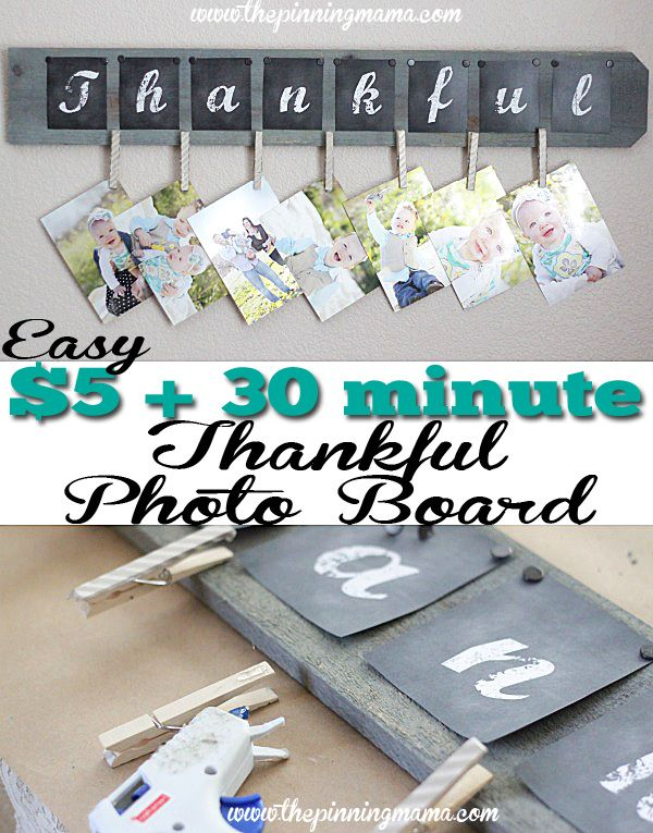 Love this craft! This DIY Thankful Photo Board makes a cute and easy gift!! Plus Free printable included!