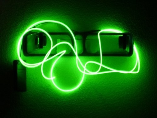 9ft Lime Green Neon Glowing Strobing Electroluminescent Wire (El Wire): Characteristics of EL Wire 1. Flexible 2. Energy saving 3. Easy to install 4. Cool to the touch 5. Available in many color 6. Available in continuous lengths (ranges several inches to thousands of feet. 7. Powered by either batteries or house outlets 8. Suitable for ornaments and jewelry 9. Can be cut and spliced 10. Enables braiding or looping 11. Water resistant and weather durable. Click Image For more Details