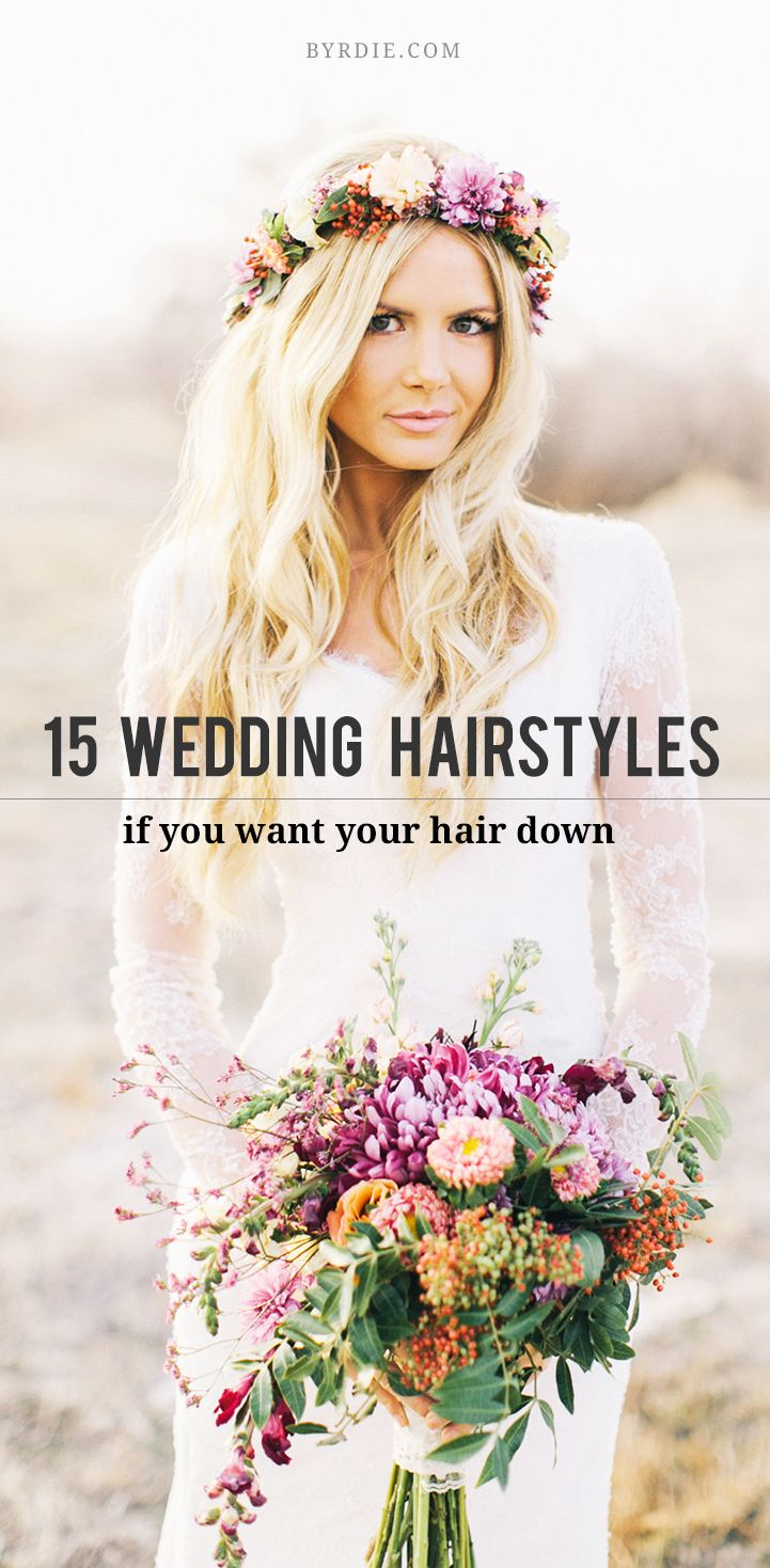 28 best flower crowns images on pinterest floral crowns flower 14 stunning ways to wear your hair down for your wedding izmirmasajfo