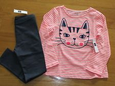 "NWT Baby Gap Girl's L/S ""Kitty"" T-Shirt/Navy Leggings Outfit Size 5T/5Y"