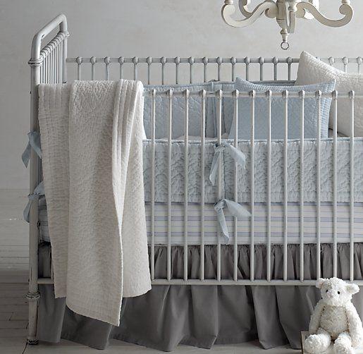 Heirloom Quilted Voile & European Heirloom Stripe Nursery Bedding Collection from Restoration Hardware