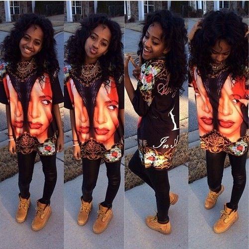 Swag! Love her Aaliyah shirt!