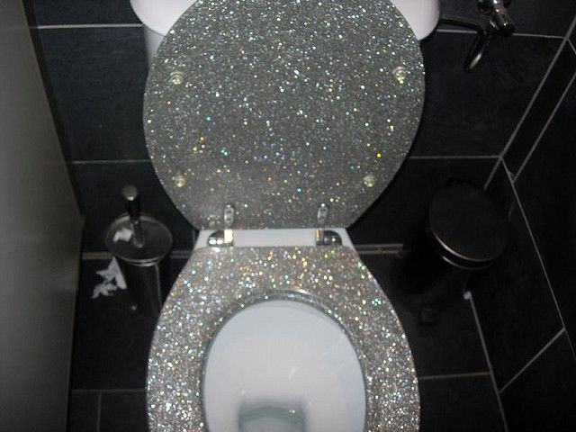 a glittered toilet seat