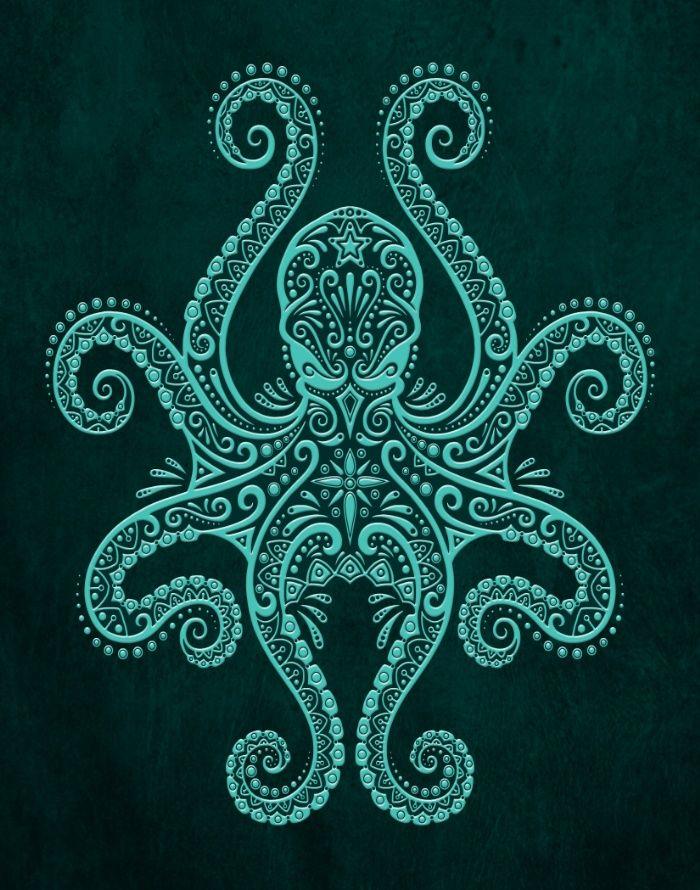 Intricate Teal Blue Octopus Art Print tatuajes | Spanish tatuajes |tatuajes para mujeres | tatuajes para hombres | diseños de tatuajes http://amzn.to/28PQlav