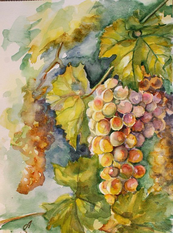 Check out this item in my Etsy shop https://www.etsy.com/listing/558406127/grapes-original-painting-watercolor-fall