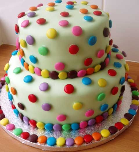 Colorful Polka Dot cake- This would be easy to do with maybe M's and/or toothpicks