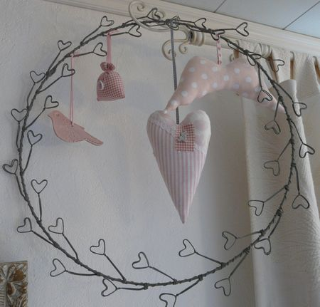 Cute......stuffed heart and birds on a heart wire wreath.