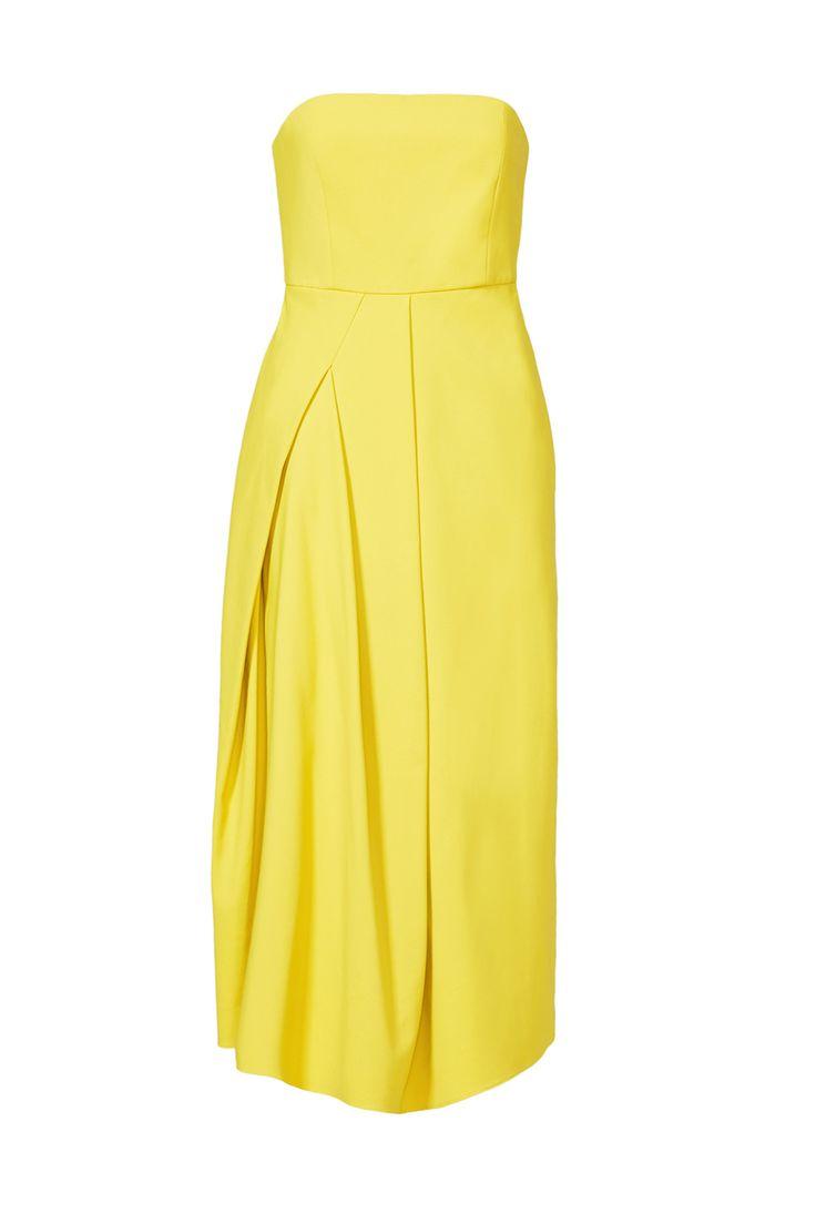 Yellow Midi Dress by Tibi for $100 | Rent The Runway