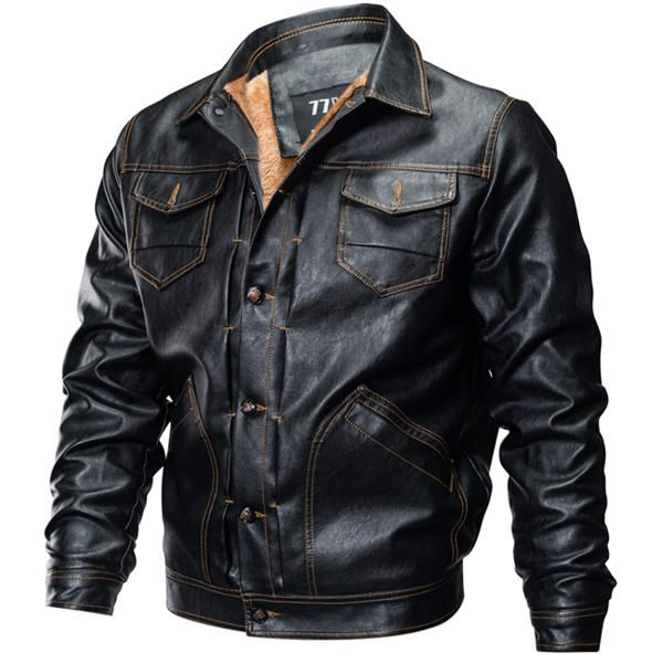 Fleece Warm Thick Winter Faux Leather PU Motorcycle Jacket at Banggood