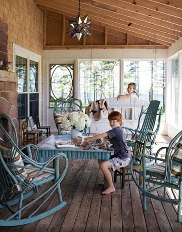 Both the table and the hickory bentwood chairs came from Genesee River Trading Company. #countryliving #dreamporch