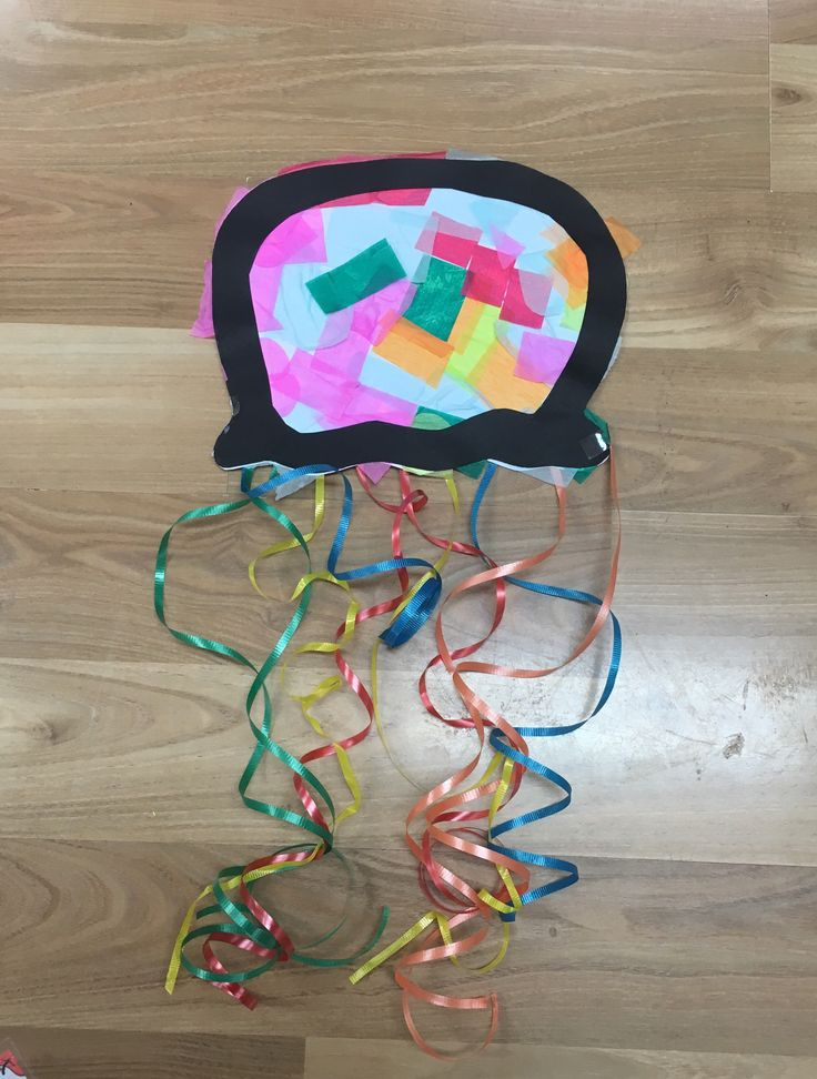 Following our fishy theme. Today we made a jellyfish! You may need: White A4 paper Black constructionn paper Assorted tissue squares Assorted plastic ribbons To make this we cut out a jellyfish hea…