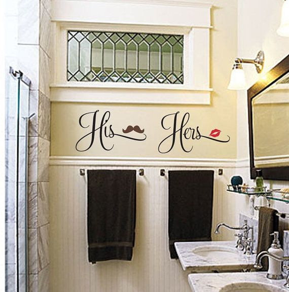 His and hers bathroom decal lips mustache decal his for His and hers bathroom