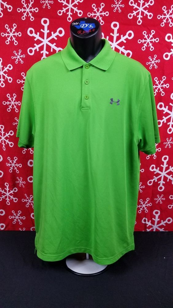 386f23b8 Mens Green Large Loose Fit Heatgear Short Sleeve Golf Polo UA Logo  Embroidered #fashion #clothing #shoes #accessories #mensclothing #shirts  (ebay link)