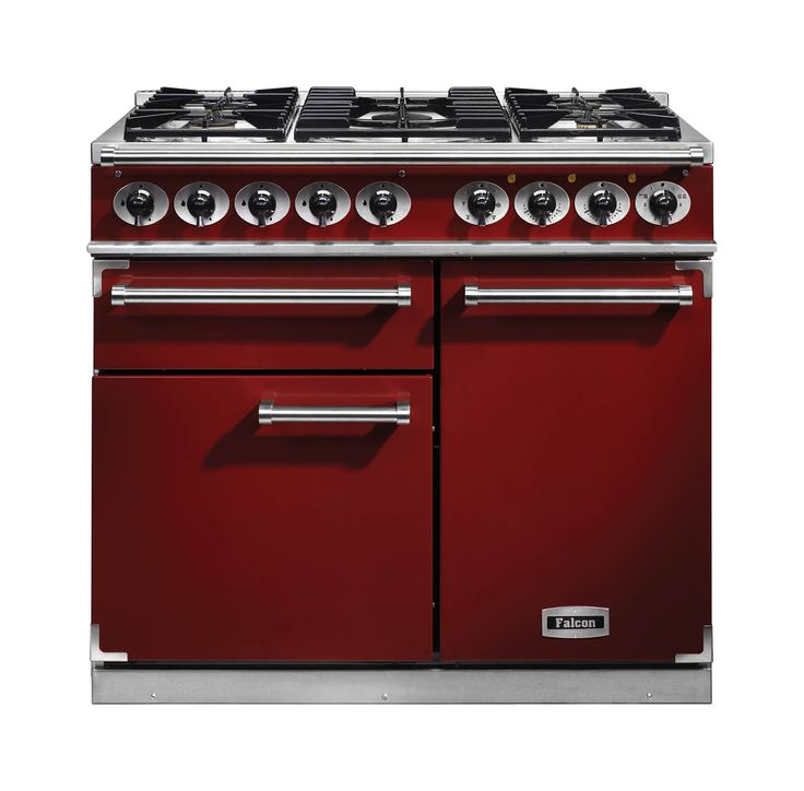 falcon deluxe dual fuel cherry red range cooker