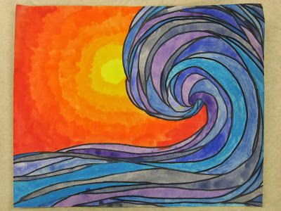 Ocean Waves - great contrast of warm and cool colors.