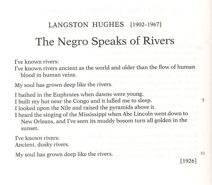 A review of langston hughes poem the negro speaks of rivers