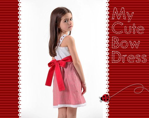 Cute red girl's dress with bow by LaLoOLa on Etsy