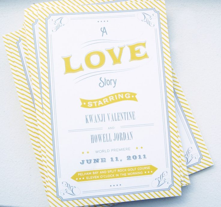 ceremony programs: Vintage Party, Vintage Movies, Vintage Wedding Invitations, Vintage Parties, Invitations Ideas, Cottages Design, Yellow Invitations, Places Cards, Movie Theme