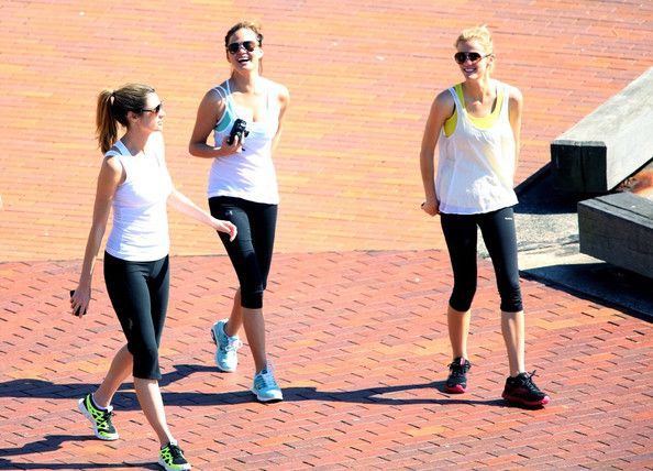 Brooklyn Decker, Erin Andrews, and model Christine Teigen go for a workout.