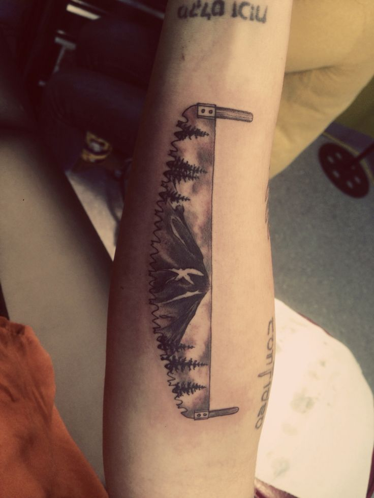 Saw. Mountain. Trees. Logging. Tattoo. | Jewel | Dad ...