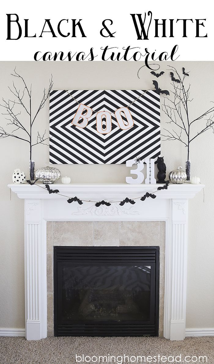 black and white canvas tutorial - Affordable Halloween Decorations