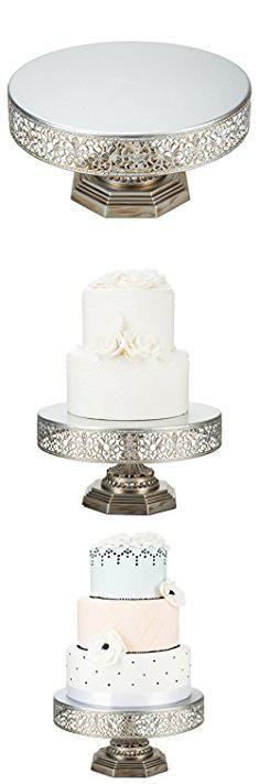 Silver Cake Pedestal. Victoria Collection Antique Silver 12 Inch Metal Cake Stand, Round Wedding Birthday Dessert Cupcake Pedestal Display.  #silver #cake #pedestal #silvercake #cakepedestal