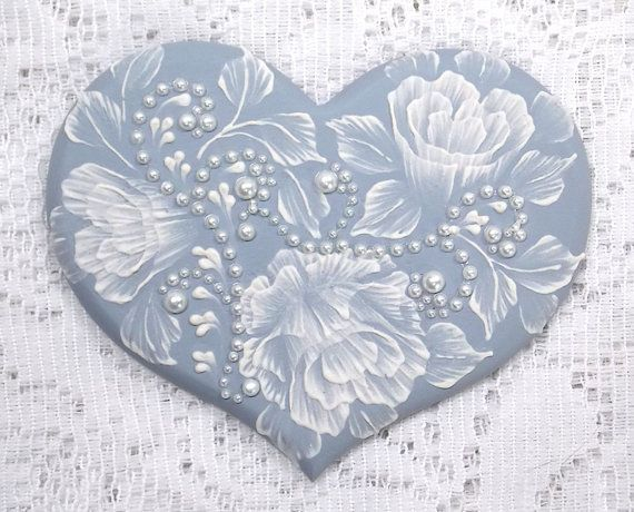 Hand Painted Soft Blue MUD Roses Heart Cookie with Pearls 28