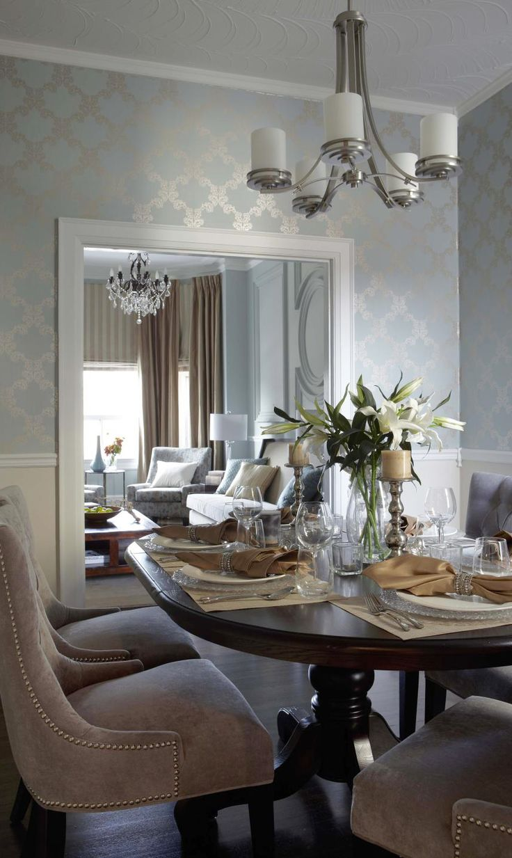 room love the wallpaper country dining rooms transitional dining