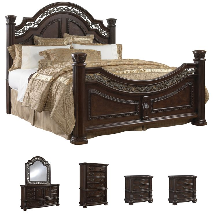 Tuscany 6 piece mocha finish king size bedroom set for Best deals on bedroom furniture