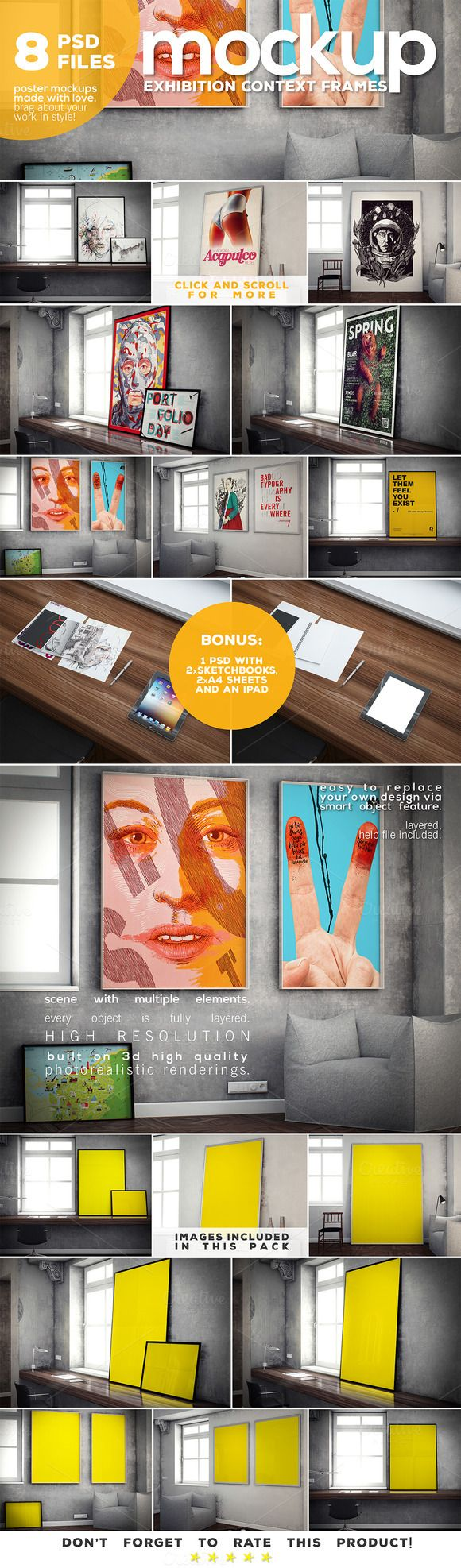 Poster Mockup vol.3 - Context Frames by DESIGNbook on Creative Market