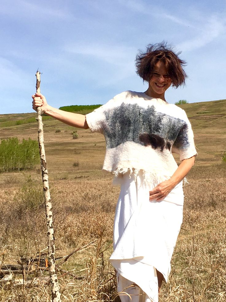 """Banff Year of the Bison, wearable art, nuno felted wool sweater """"Bison"""" from Viva Felt"""