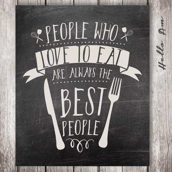 People who love to eat Chalkboard art Kitchen art by HelloAm