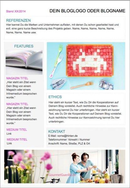 Blogger Media Kit Vorlage Free Download Template PowerPoint |GourmetGuerilla.de