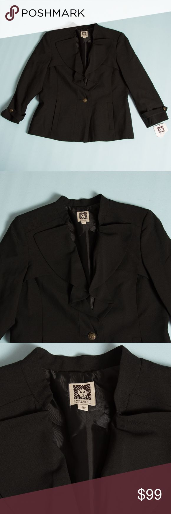 NWT Anne Klein suit separates black  jacket, sz 12 NWT Anne Klein suit separates black  jacket, sz 12. Buttons have a cool design on front and sleeves. Pockets in the front. Original price still on tag is $129. Has 2 buttons attached still with tag for any future repairs. Beautiful jacket from non-smoking home. Anne Klein Jackets & Coats Blazers