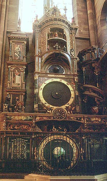 ENVIRONMENTS: From 1352–1354, the Strasbourg Cathedral (better known as Notre-Dame)'s first astronomical clock, L'horloge de Trois Rois, was built.  It had several details that were rare during that time, like a calendar and astrolabe, and every hour statues representing the three Kings stepped out of their chambers in front of the statue of Virgin Mary and baby Jesus, music accompanying them. It stopped working in the early 16th century, and has since been replaced twice (current one…