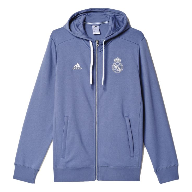 A full-zip football hoodie for loyal fans of Real Madrid. Support Real Madrid in this men's full-zip football hoodie. Club colors and a club crest show your pride on the pitch and while cheering the c
