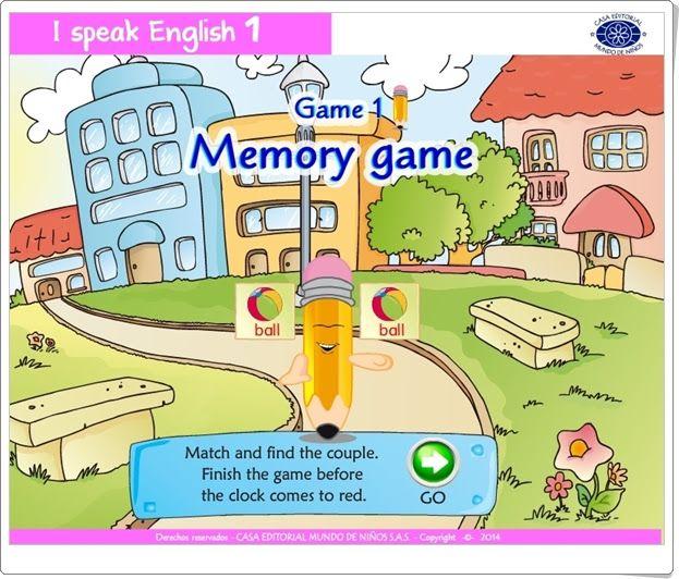 """""""Memory game"""" es un juego de """"I speak English 1"""", de Casa Editorial Mundo de Niños S.A.S., dedicado a la familiarización oral y escrita con el vocabulario básico en inglés."""
