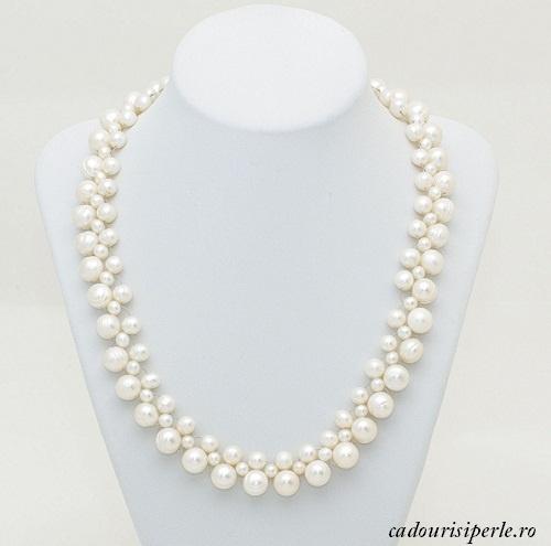 Colierul White Pricess-Colierul este realizat din perle naturale albe de marimi diferite: 6-7 mm, 8 mm si 10 mm. Este un colier la baza gatului, realizat manual, astfel incat lungimea lui va fi la cererea dumneavoastra.