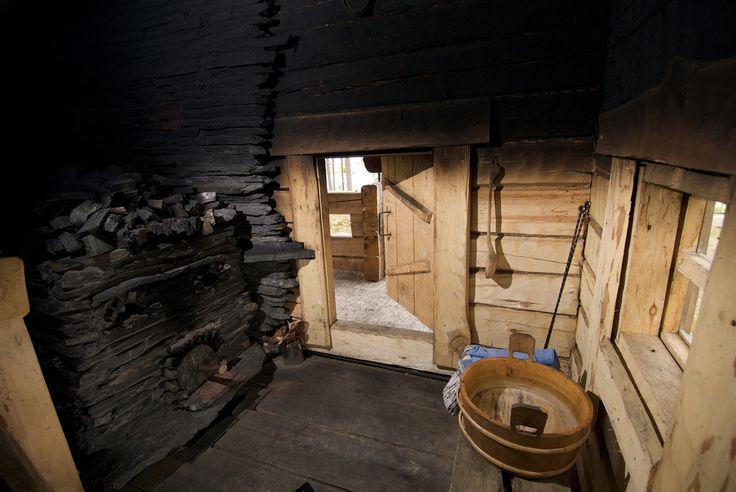 Inside a traditional Finnish smoke sauna (savusauna)