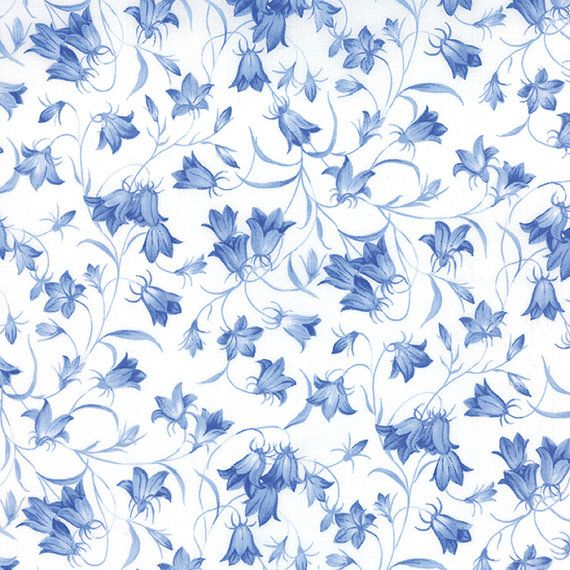 Summer Breeze III Bluebells Tonal Blue Ivory Floral  Moda Quilt Fabric by the 1/2 yard #44-16