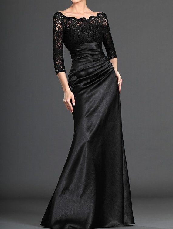 Black Evening Dress,Black Satin Lace Formal Dress,Mermaid Evening Dress on Etsy, $265.42 CAD