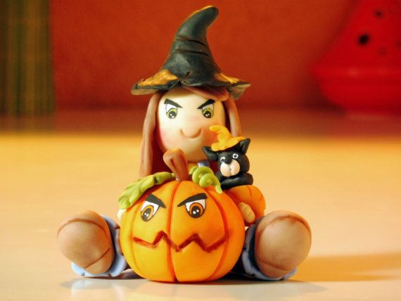 Halloween Witch with pumpkin handmade halloween by elagiftidea