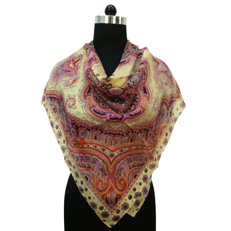 New 100% Silk Scarf Square Floral Fashion Women Soft Wrap Beige Scarves #Indianbeautifulart #ScarfShawlStoleBandana #CasualFormal