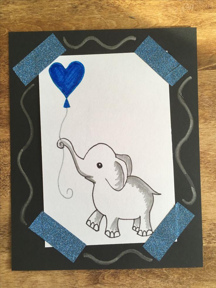 Kesä, kortti, hauskaa kesää, summer, card, diy, have a nice summer, 2017, norsufanille, norsu, ilmapallo, elephant, balloon, washi tape, koristeteippi