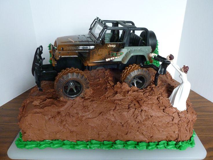 Chocolate Groom's Cake w/Jeep - Cake is chocolate with chocolate buttercream icing.