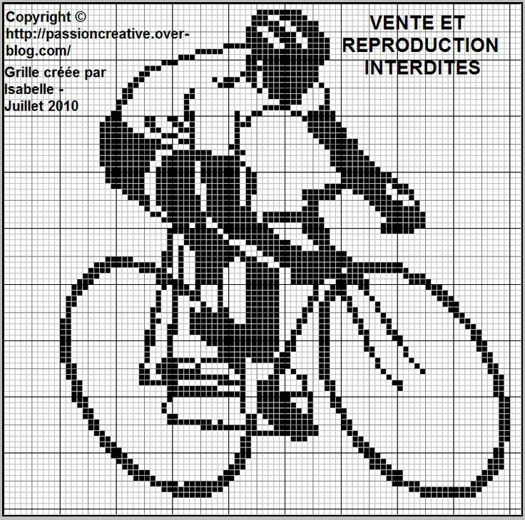 sport - vélo - point de croix - cross stitch - Blog : http://broderiemimie44.canalblog.com/