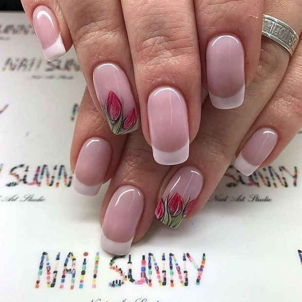 french tip tulip accent nail