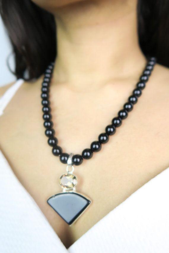 Boho Style Fashion Chic Jewelry Handmade black triangle pendant necklace  Onyx by SZJewels on Etsy